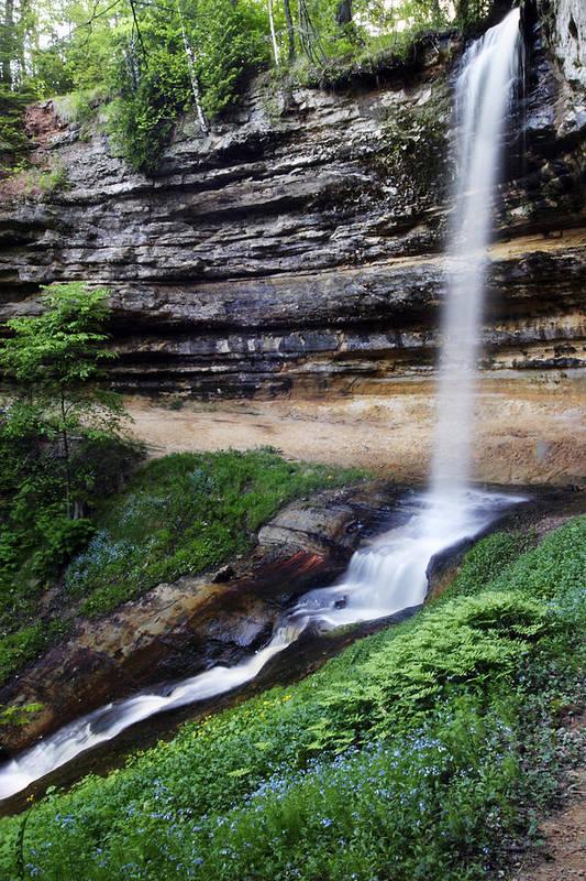 3scape Art Print featuring the photograph Munising Falls by Adam Romanowicz