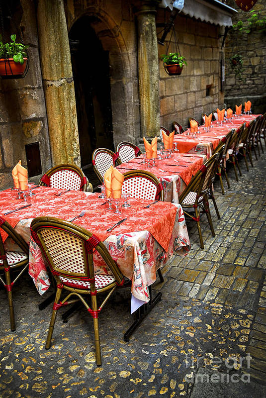 Restaurant Print featuring the photograph Restaurant Patio In France by Elena Elisseeva
