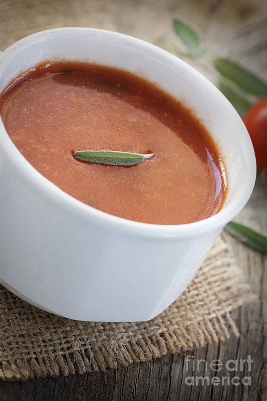 Appetizer Art Print featuring the photograph Tomato Soup by Mythja Photography