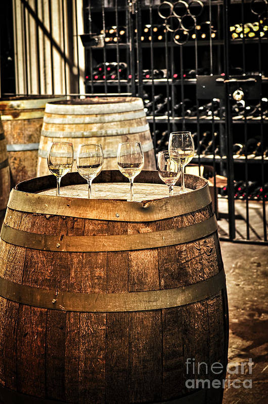 Wine Art Print featuring the photograph Wine Glasses And Barrels by Elena Elisseeva