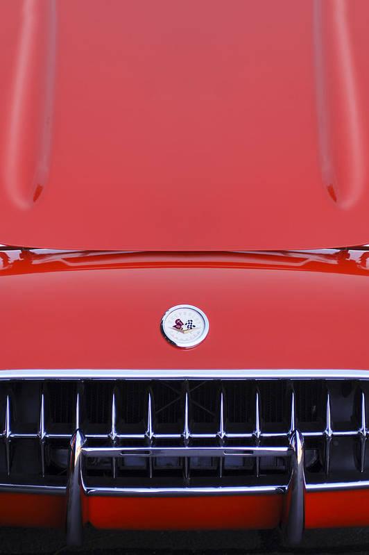 1957 Chevrolet Corvette Grille Art Print featuring the photograph 1957 Chevrolet Corvette Grille by Jill Reger