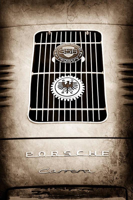 1960 Volkswagen Vw Porsche 356 Carrera Gs Gt Replica Emblem Art Print featuring the photograph 1960 Volkswagen Vw Porsche 356 Carrera Gs Gt Replica Emblem by Jill Reger