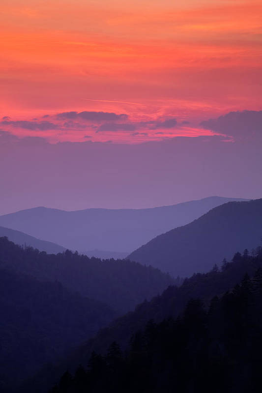 Smokies Art Print featuring the photograph Smoky Mountain Sunset by Andrew Soundarajan