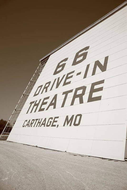 66 Print featuring the photograph Route 66 Drive-in Theatre by Frank Romeo