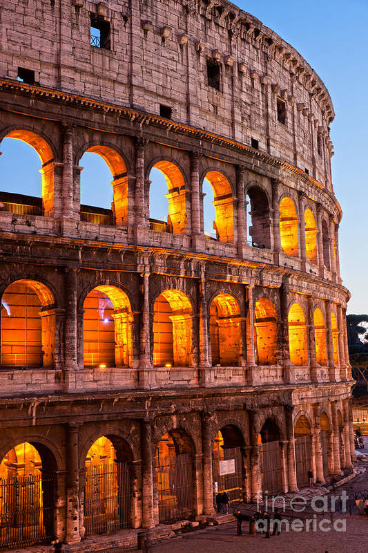 Column Art Print featuring the photograph The Majestic Coliseum - Rome by Luciano Mortula