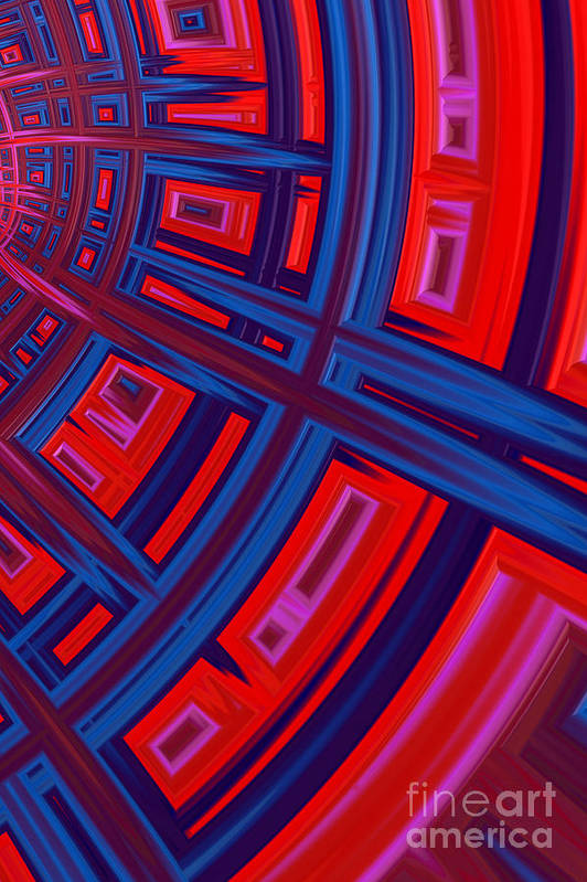 Red And Blue Abstract Art Print featuring the digital art Abstract In Red And Blue by John Edwards