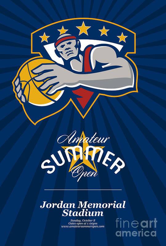 Basketball Art Print featuring the digital art Amateur Summer Basketball League Open Poster by Aloysius Patrimonio