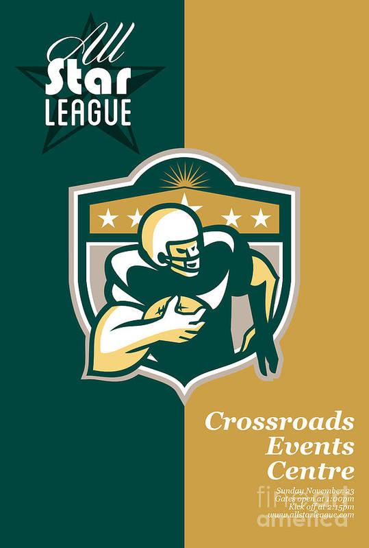 American Football Art Print featuring the digital art American Gridiron All Star League Poster by Aloysius Patrimonio