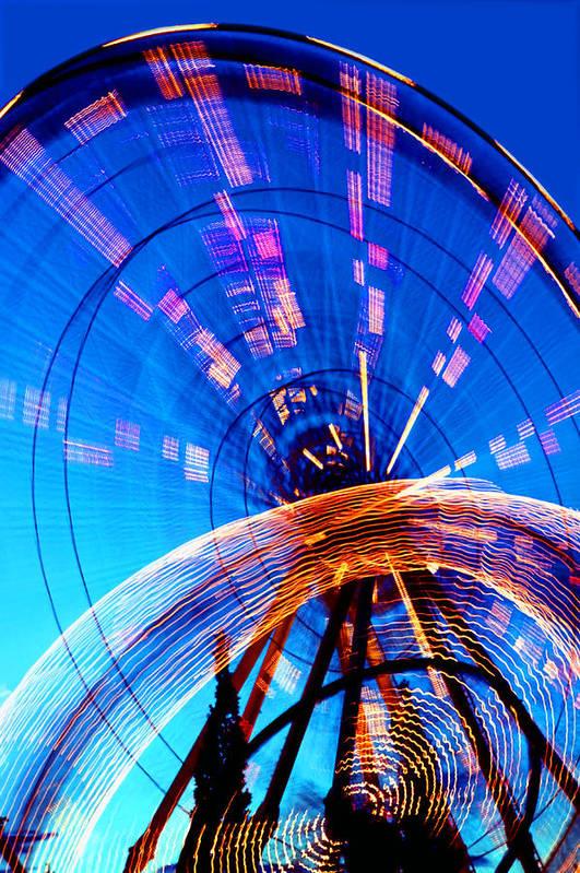 Amusement Park Art Print featuring the photograph Amusement Park Rides 1 by Steve Ohlsen