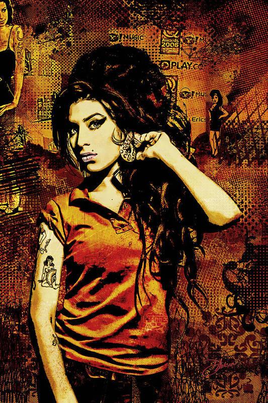 Amy Winehouse. Orange Art Print featuring the digital art Amy Winehouse 24x36 Mm Reg by Dancin Artworks