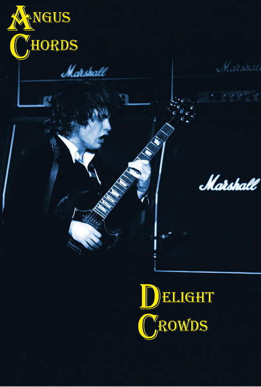 Angus Young Art Print featuring the photograph Angus Chords Delight Crowds In Blue by Ben Upham