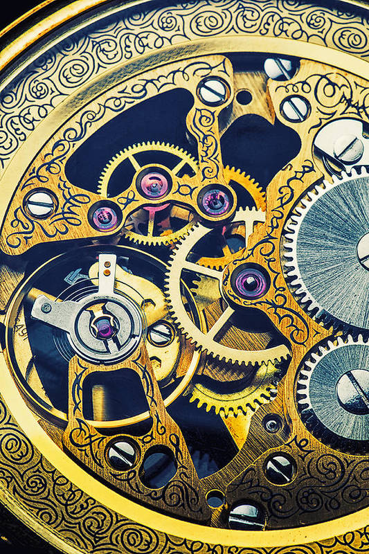 Time Print featuring the photograph Antique Pocket Watch Gears by Garry Gay