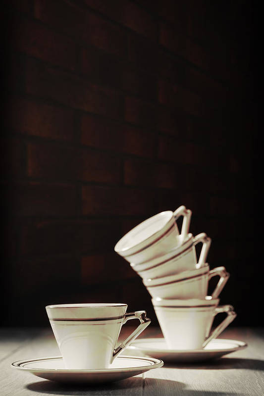 Stack Art Print featuring the photograph Art Deco Teacups by Amanda Elwell