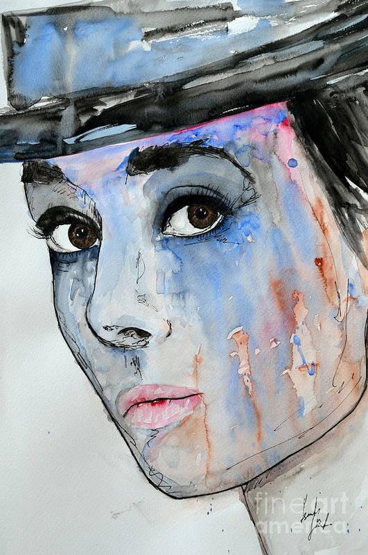 Audrey Hepburn Art Print featuring the painting Audrey Hepburn - Painting by Ismeta Gruenwald