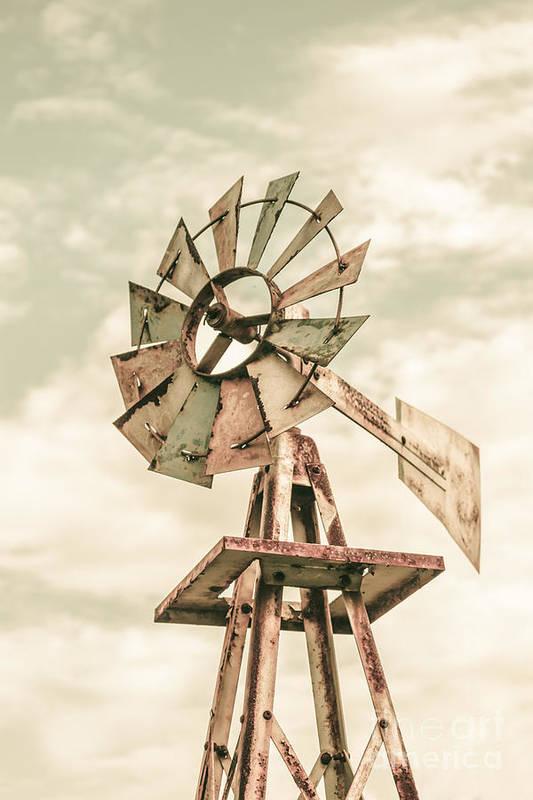 Australian Aermotor Windmill Art Print By Jorgo