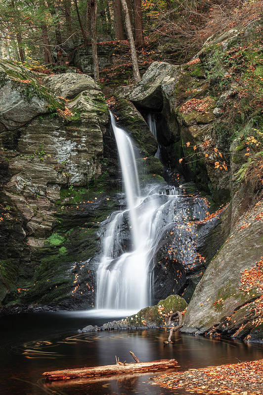 Autumn Waterfall Art Print featuring the photograph Autumn Fall by Bill Wakeley