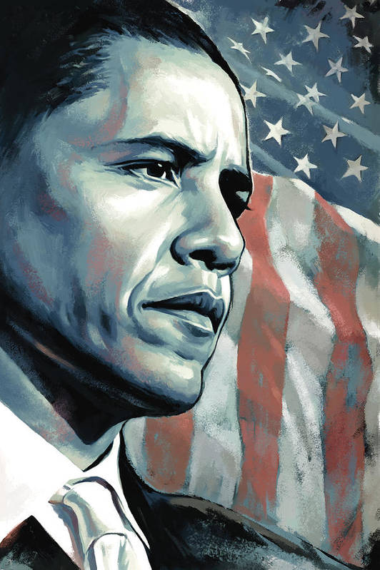 Barack Obama Paintings Art Print featuring the painting Barack Obama Artwork 2 B by Sheraz A