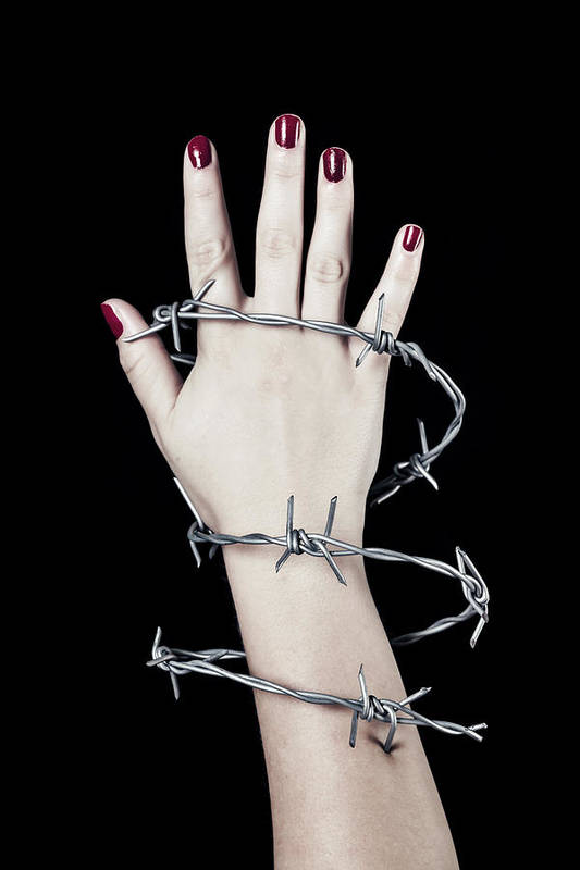 Hand Art Print featuring the photograph Barbed Wire by Joana Kruse