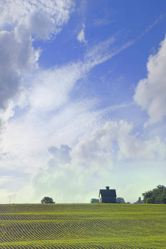 Farm & Barn Print featuring the photograph Barn On Top Of The Hill by Mike McGlothlen