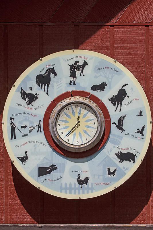 Barn Art Print featuring the photograph Barn Yard Clock by Garry Gay