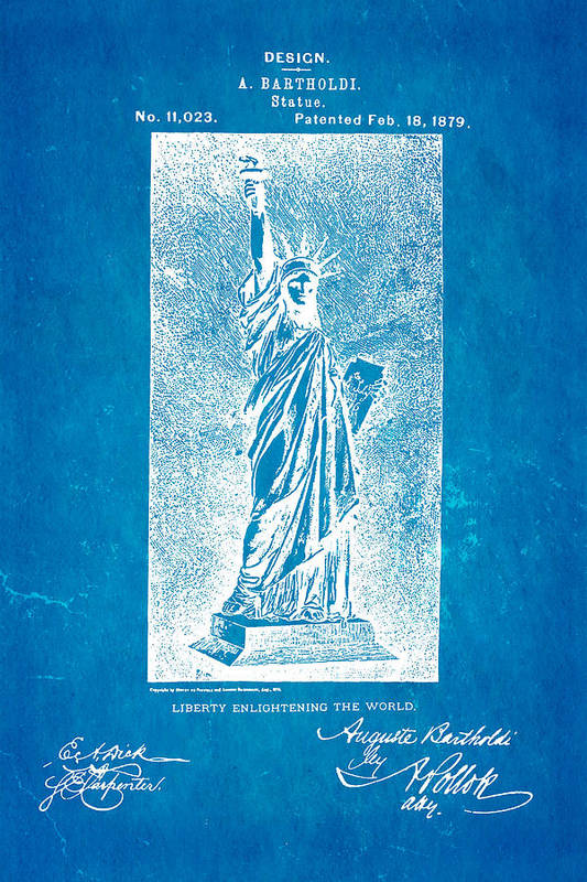 Construction Art Print featuring the photograph Bartholdi Statue Of Liberty Patent Art 1879 Blueprint by Ian Monk