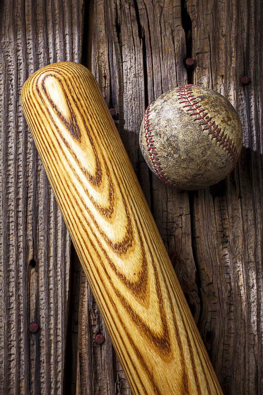 Bat Art Print featuring the photograph Baseball Bat And Ball by Garry Gay
