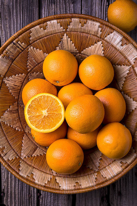 Basket Art Print featuring the photograph Basket Full Of Oranges by Garry Gay