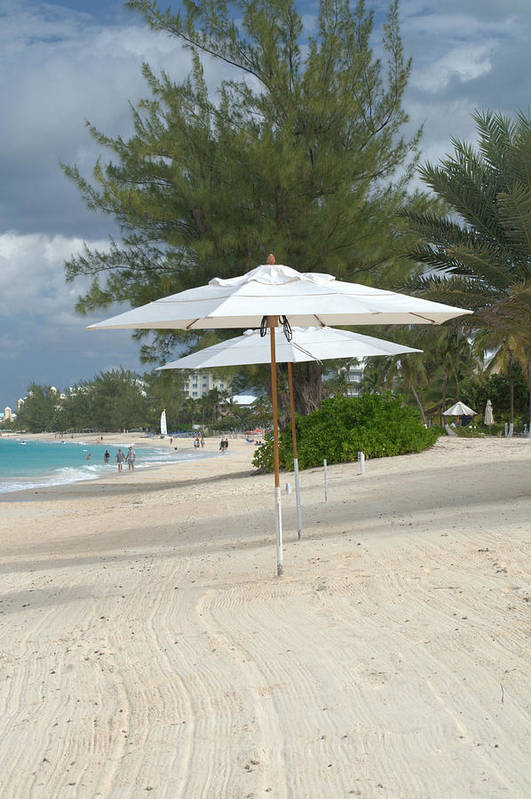 Caribbean Art Print featuring the photograph Beach Umbrellas by Caroline Stella