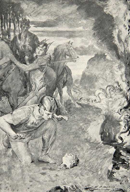 Beowulf Art Print featuring the drawing Beowulf Finds The Head Of Aschere by John Henry Frederick Bacon