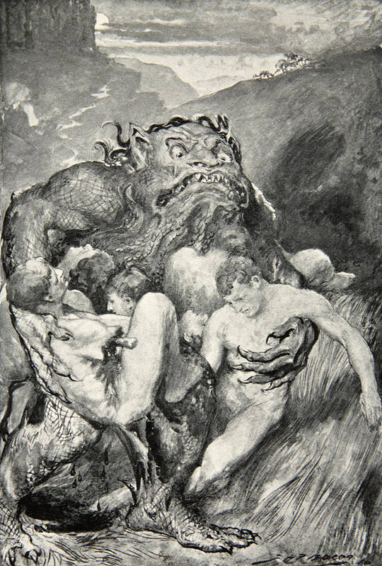 Beowulf Art Print featuring the drawing Beowulf Print by John Henry Frederick Bacon