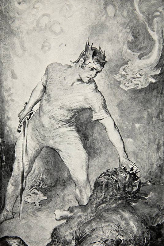 Beowulf Print featuring the drawing Beowulf Shears Off The Head Of Grendel by John Henry Frederick Bacon