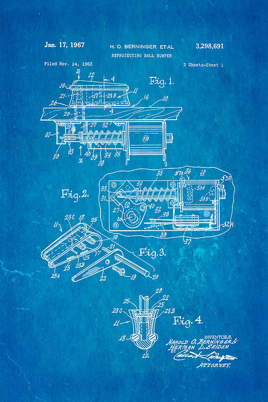 Famous Art Print featuring the photograph Berninger Reprojecting Ball Bumper Patent Art 1967 Blueprint by Ian Monk