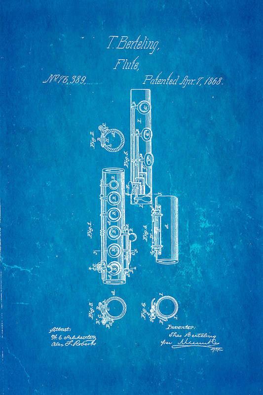 Famous Art Print featuring the photograph Berteling Flute Patent Art 1868 Blueprint by Ian Monk