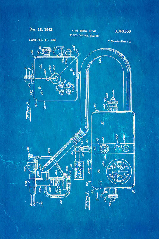 Doctor Art Print featuring the photograph Bird Respirator Patent Art 1962 Blueprint by Ian Monk