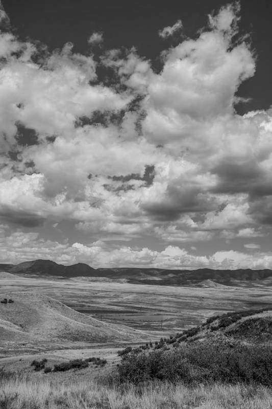 Cumulus Clouds Art Print featuring the photograph Black And White High Desert Cumulus by Aaron Burrows