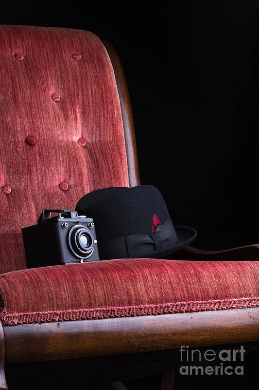 Still Life Art Print featuring the photograph Black Hat Vintage Camera And Antique  Red Chair by - Black Hat Vintage Camera And Antique Red Chair Art Print By Edward