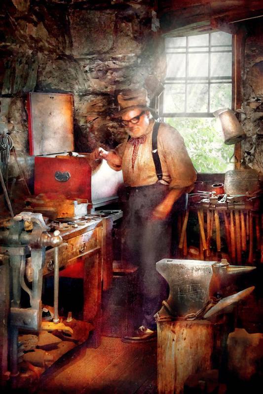 Blacksmith Art Print featuring the digital art Blacksmith - The Smithy by Mike Savad