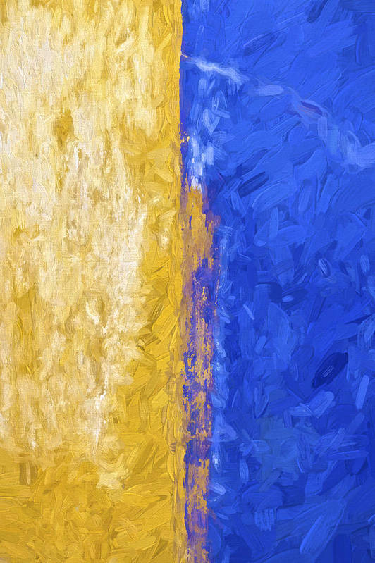 Abstract Art Print featuring the photograph Blue And Yellow Abstract by David Letts