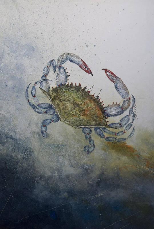 Crab Art Print featuring the mixed media Blue Crab Print by Nancy Gorr