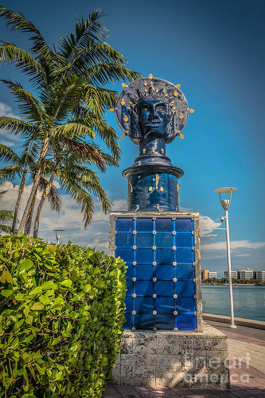 America Art Print featuring the photograph Blue Crown Statue Miami Downtown by Ian Monk