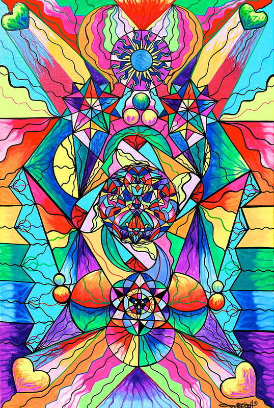 Vibration Art Print featuring the painting Blue Ray Transcendence Grid by Teal Eye Print Store