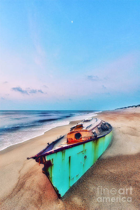 Outer Banks Print featuring the photograph Boat Under Morning Moon Outer Banks I by Dan Carmichael