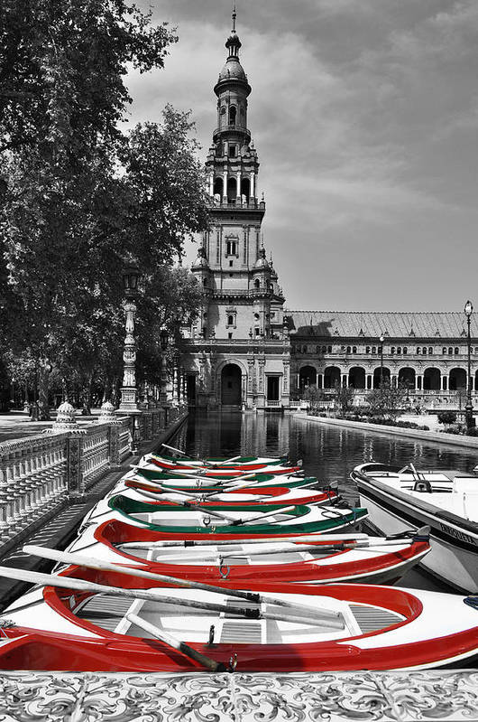 Row Boats Art Print featuring the photograph Boats By The Plaza De Espana Seville by Mary Machare