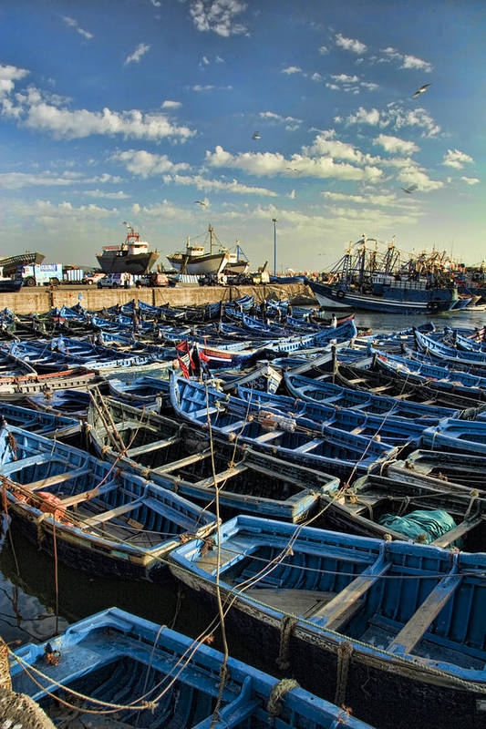 Dusk Art Print featuring the photograph Boats In Essaouira Morocco Harbor by David Smith