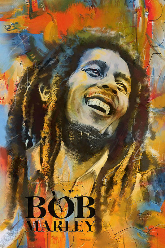 Bob Marley Art Print featuring the painting Bob Marley by Corporate Art Task Force