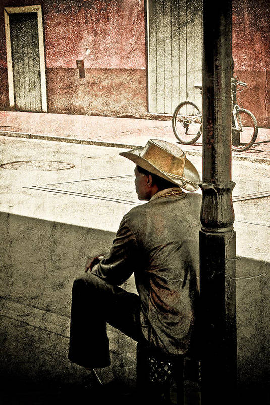 Nola Art Print featuring the photograph Bourbon Cowboy In New Orleans by Ray Devlin