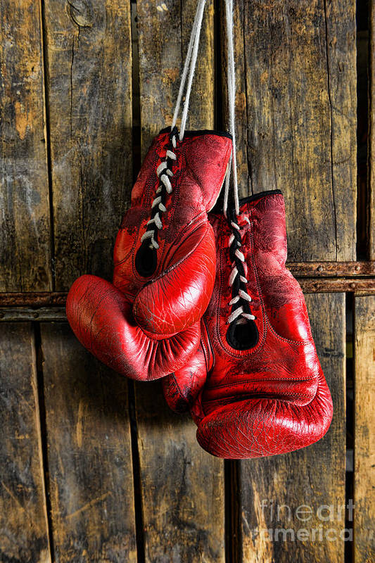 Paul Ward Art Print featuring the photograph Boxing Gloves - Now Retired by Paul Ward
