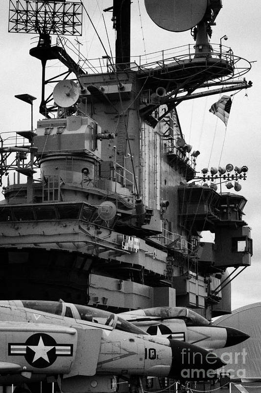 Usa Art Print featuring the photograph Bridge And Flight Deck Island On The Uss Intrepid New York by Joe Fox