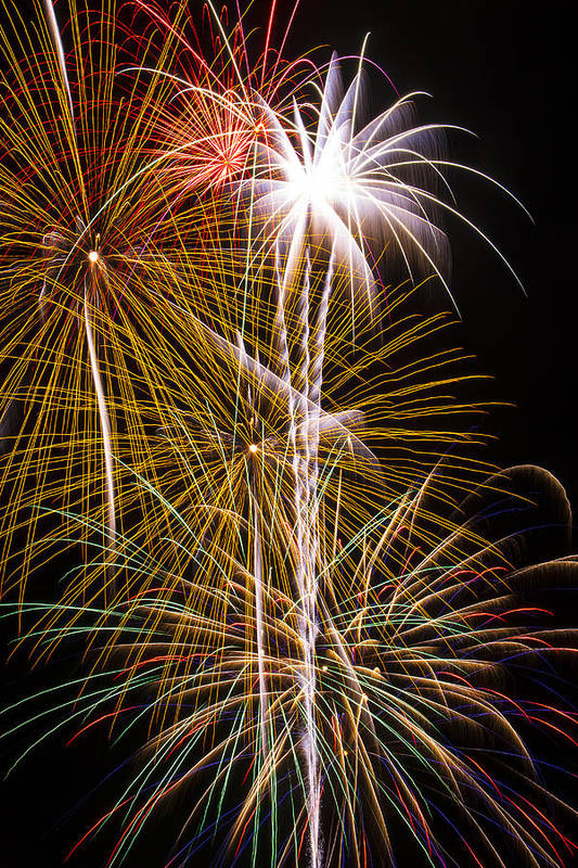 Awesome Fireworks Lights Up The Darkness Art Print featuring the photograph Bright Bursts Of Fireworks by Garry Gay