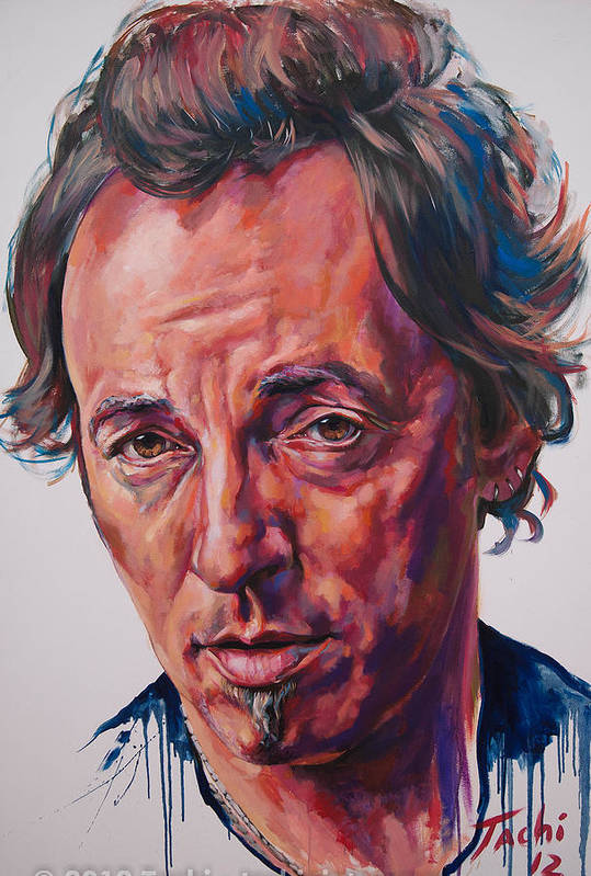 Bruce Print featuring the painting Bruce by Tachi Pintor
